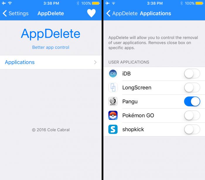 AppDelete cydia app